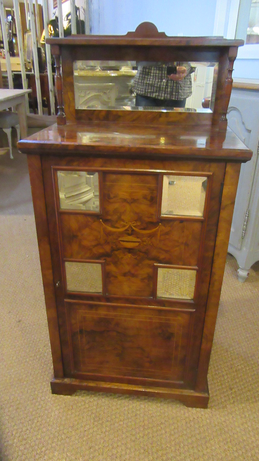 ANTIQUE VICTORIAN INLAID BURR WALNUT MIRRORED CABINET