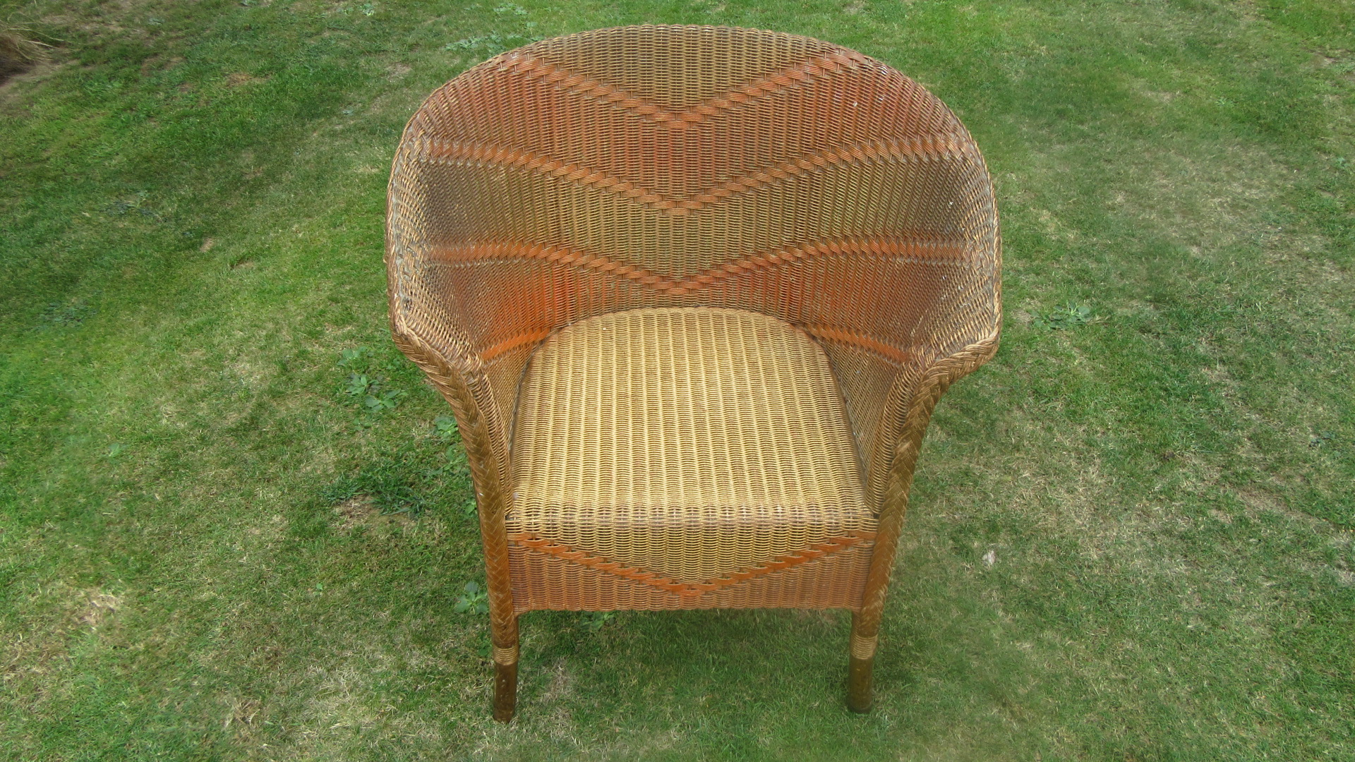 ANTIQUE LLOYD LOOM ARMCHAIR RARE MODEL WITH ORIGINAL PAINT