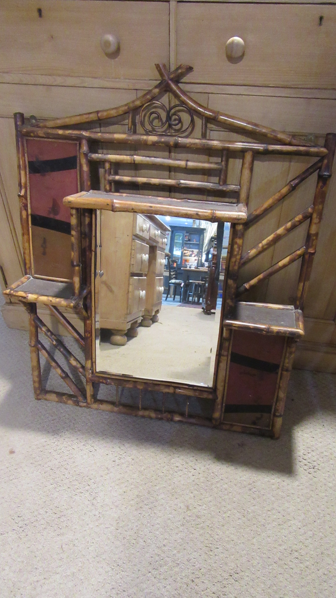 ANTIQUE VICTORIAN BAMBOO OVERMANTLE MIRROR