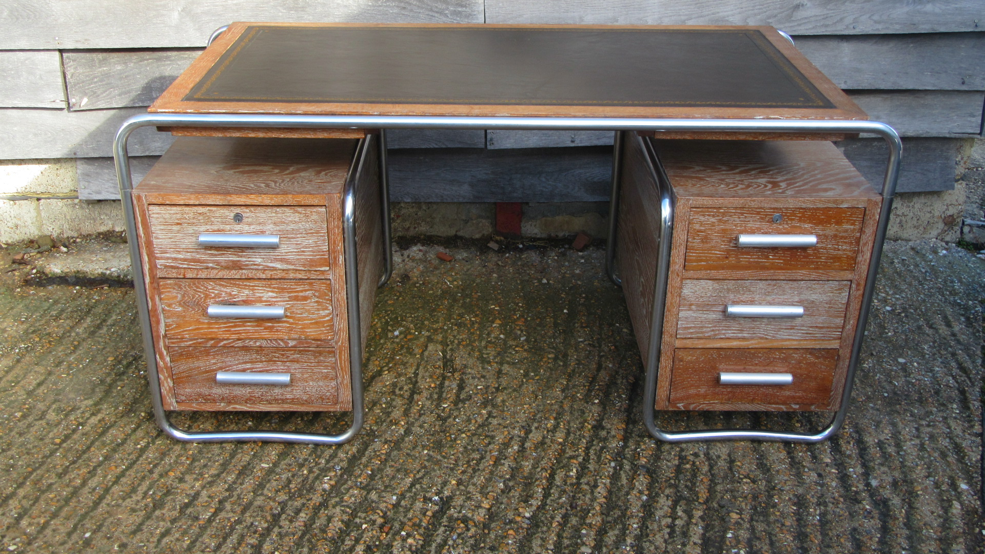 ANTIQUE ART DECO CHROME & LIMED OAK WRITING DESK