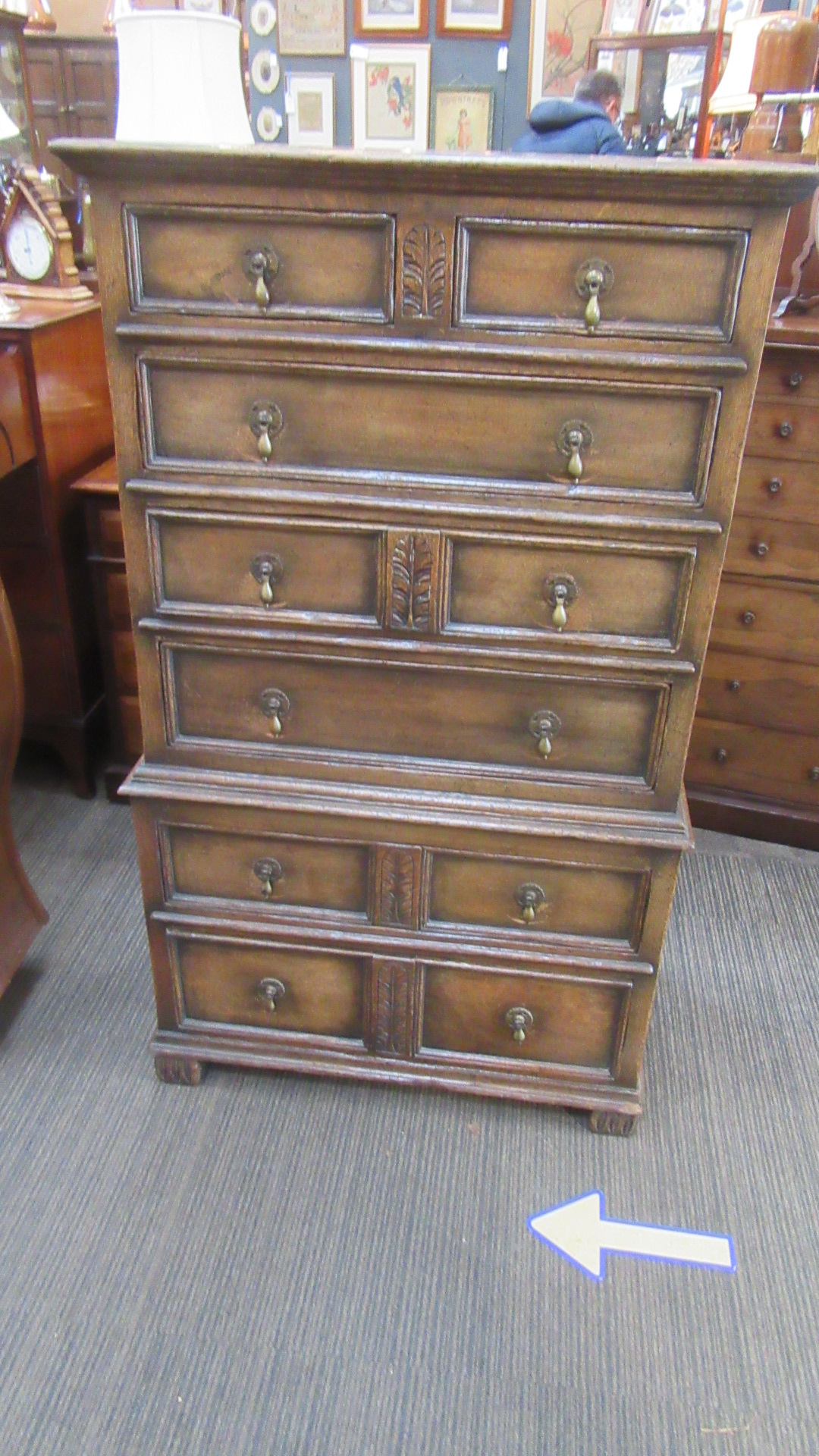 IPSWICH OAK CHEST ON CHEST FROM MAPLES