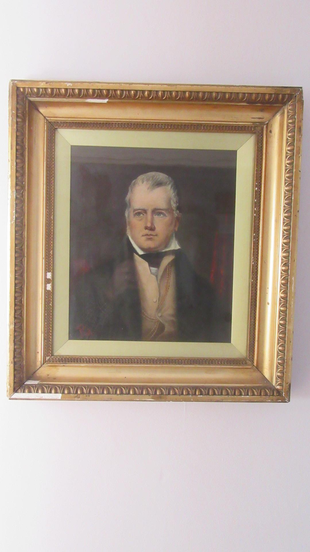 ANTIQUE PORTRAIT OF A GENTLEMAN SIR WALTER SCOTT