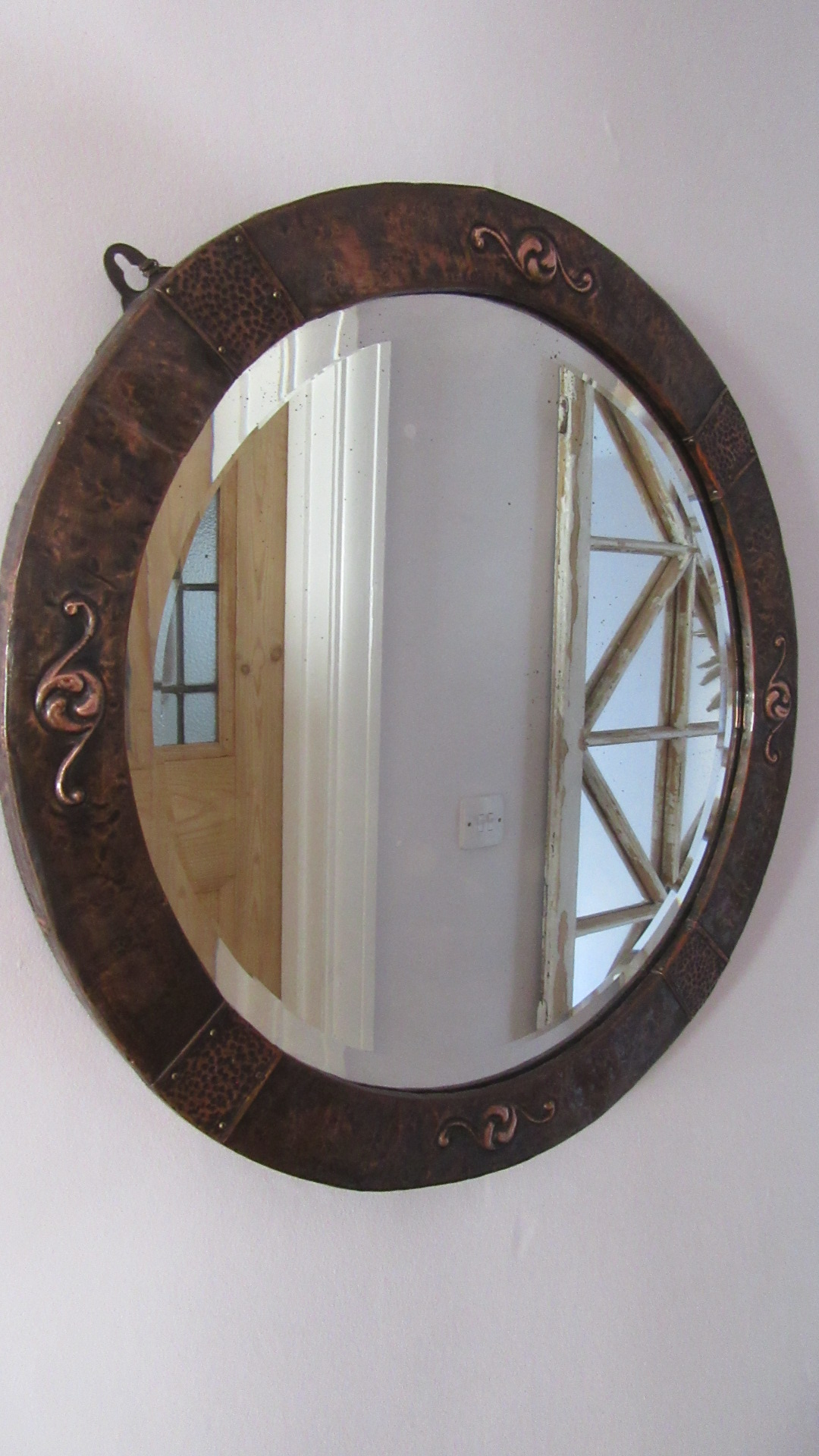 ANTIQUE COPPER ARTS & CRAFTS WALL MIRROR