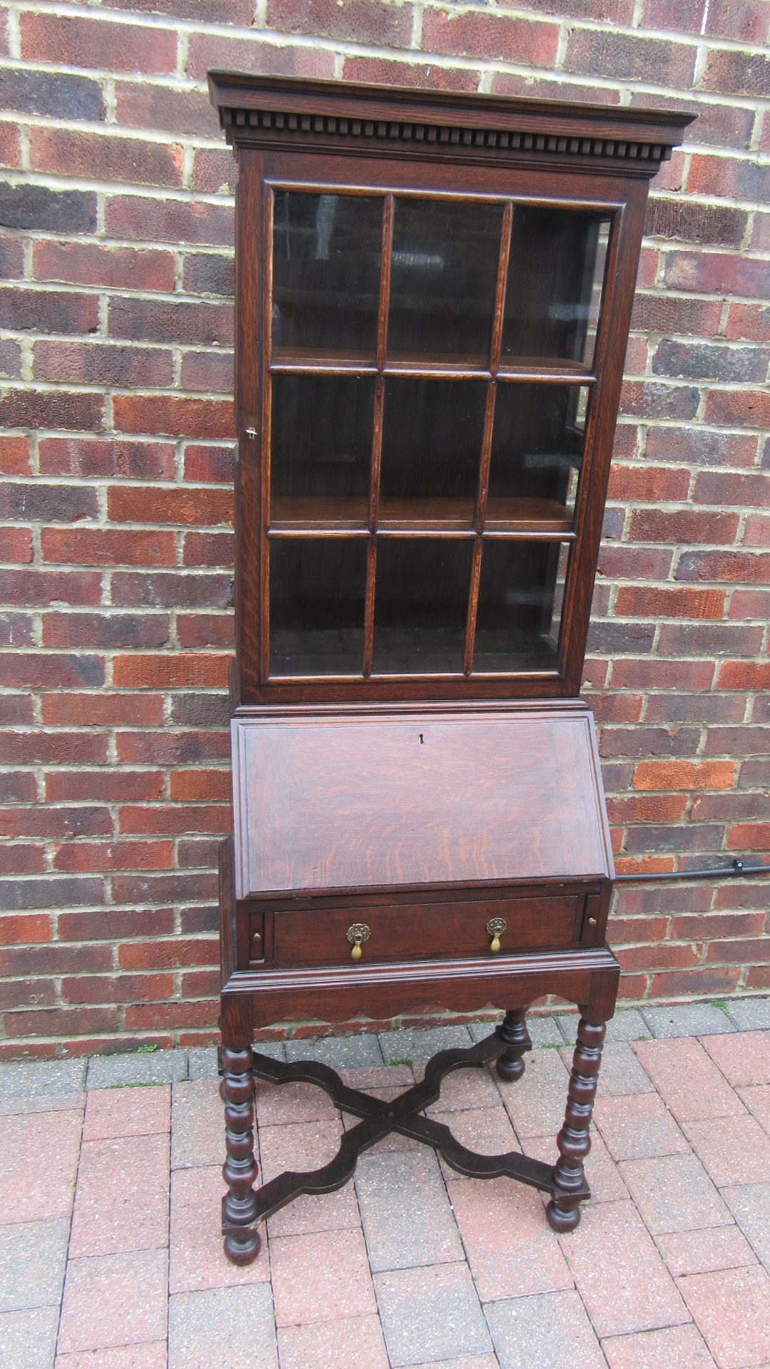 ANTIQUE JACOBEAN STYLE OAK BUREAU BOOKCASE