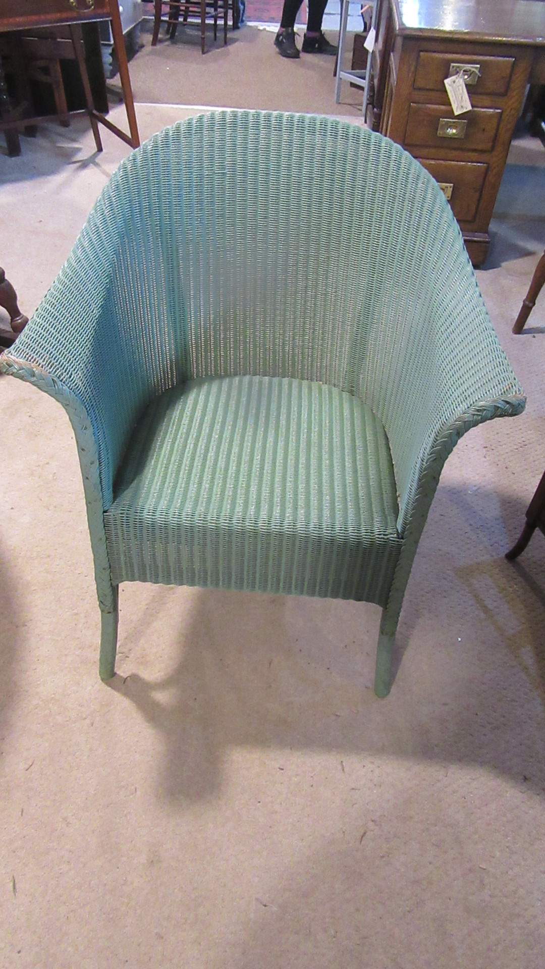 ORIGINAL 1930S ANTIQUE LUSTY LLOYD LOOM ARMCHAIR