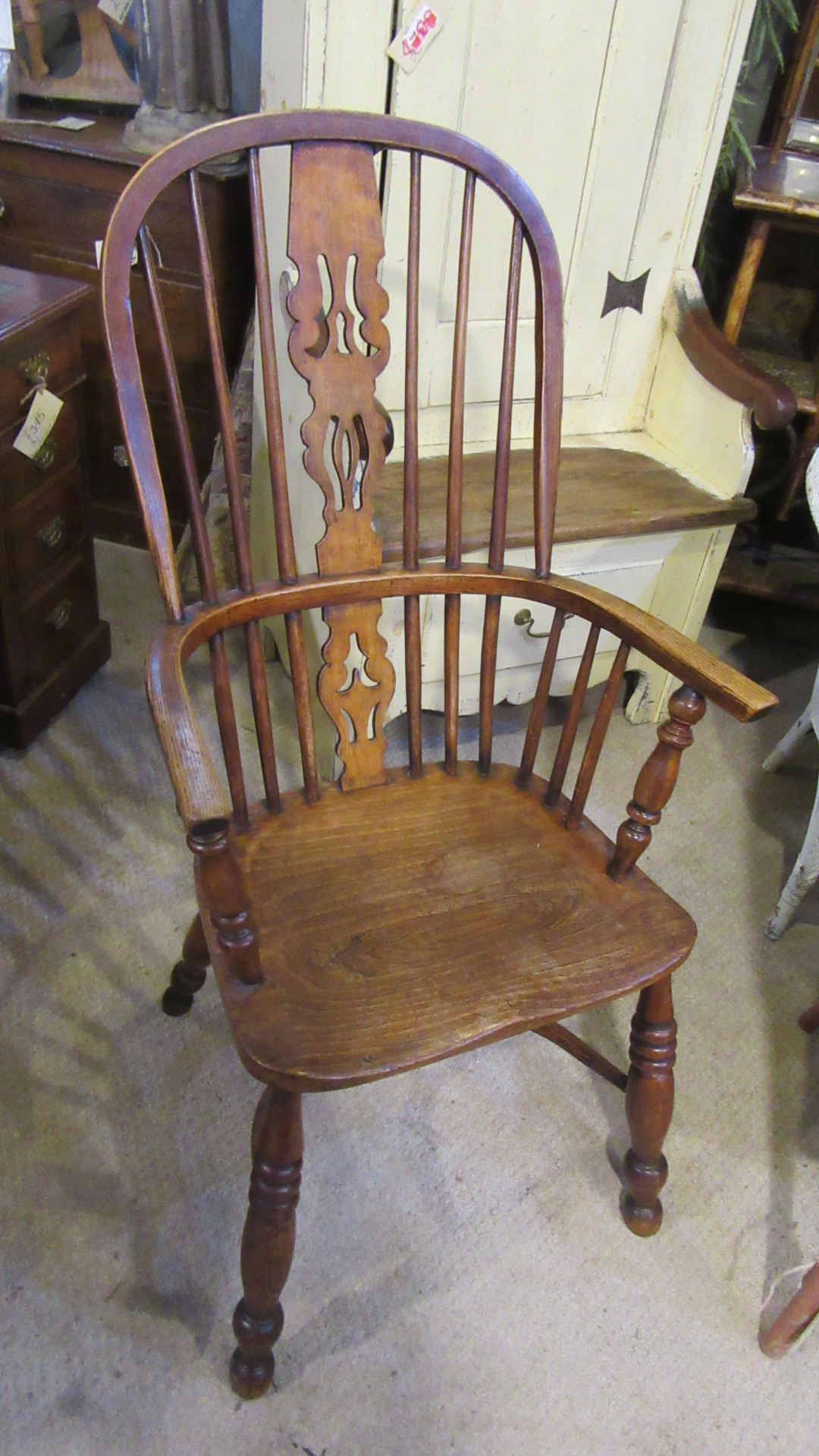 ANTIQUE COUNTRY ELM WINDSOR ARMCHAIR