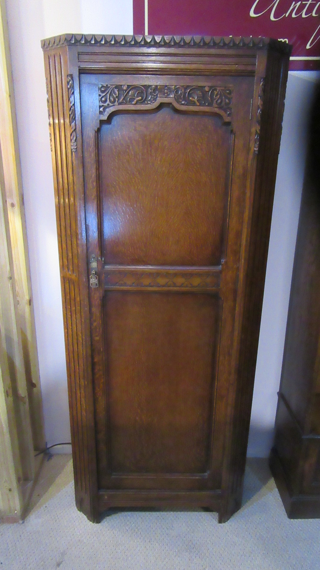 ANTIQUE CARVED OAK HALL CUPBOARD