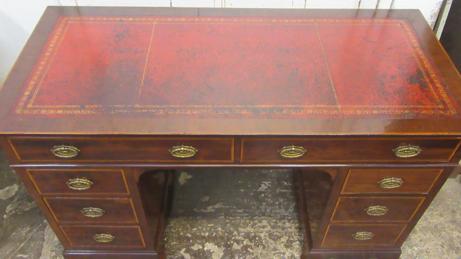 ANTIQUE HOBBS AND CO INLAID  MAHOGANY KNEE HOLE WRITING DESK