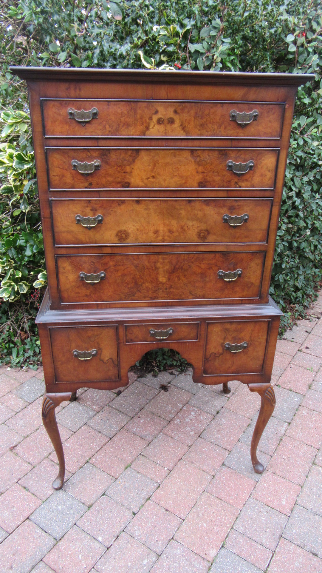 ANTIQUE WALNUT CHEST ON STAND