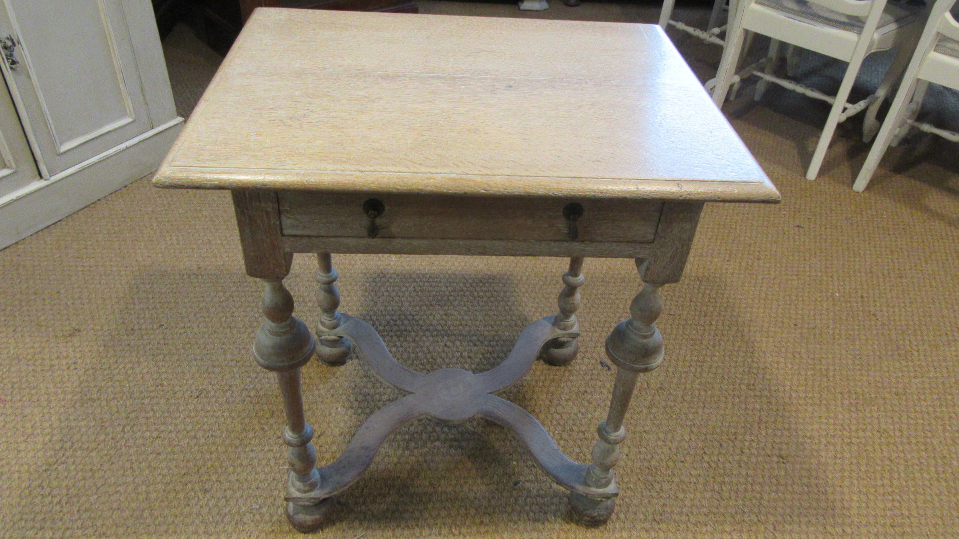 ANTIQUE LIMED OAK SIDE TABLE