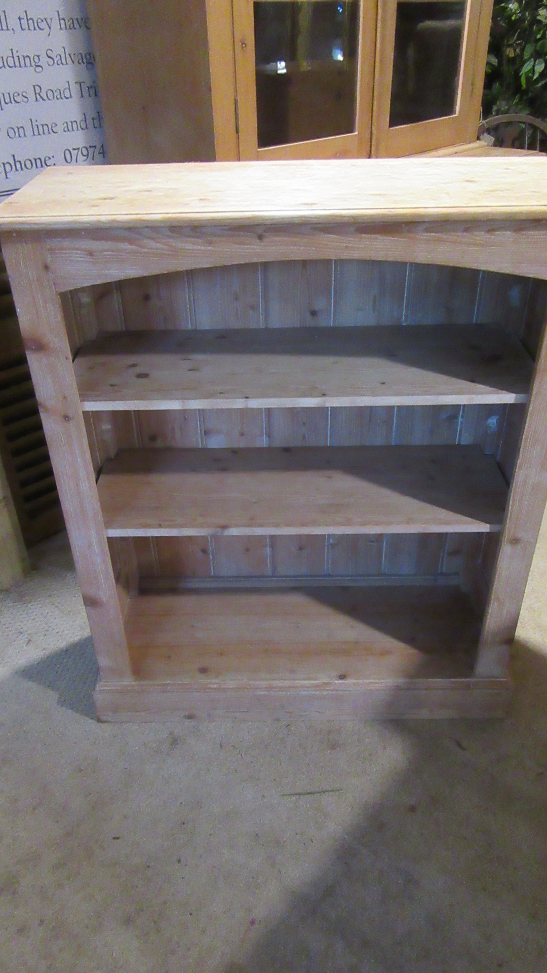 ANTIQUE EDWARDIAN COUNTRY PINE OPEN BOOKCASE
