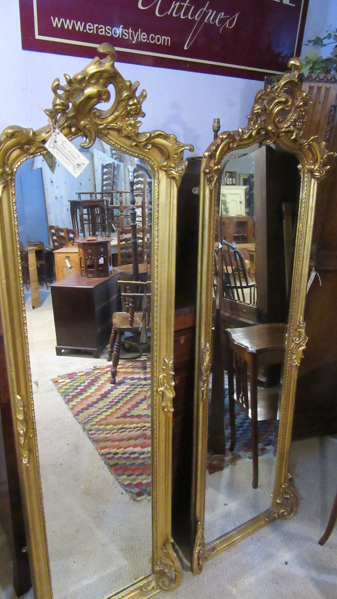 PAIR OF ANTIQUE STYLE GILDED MIRRORS