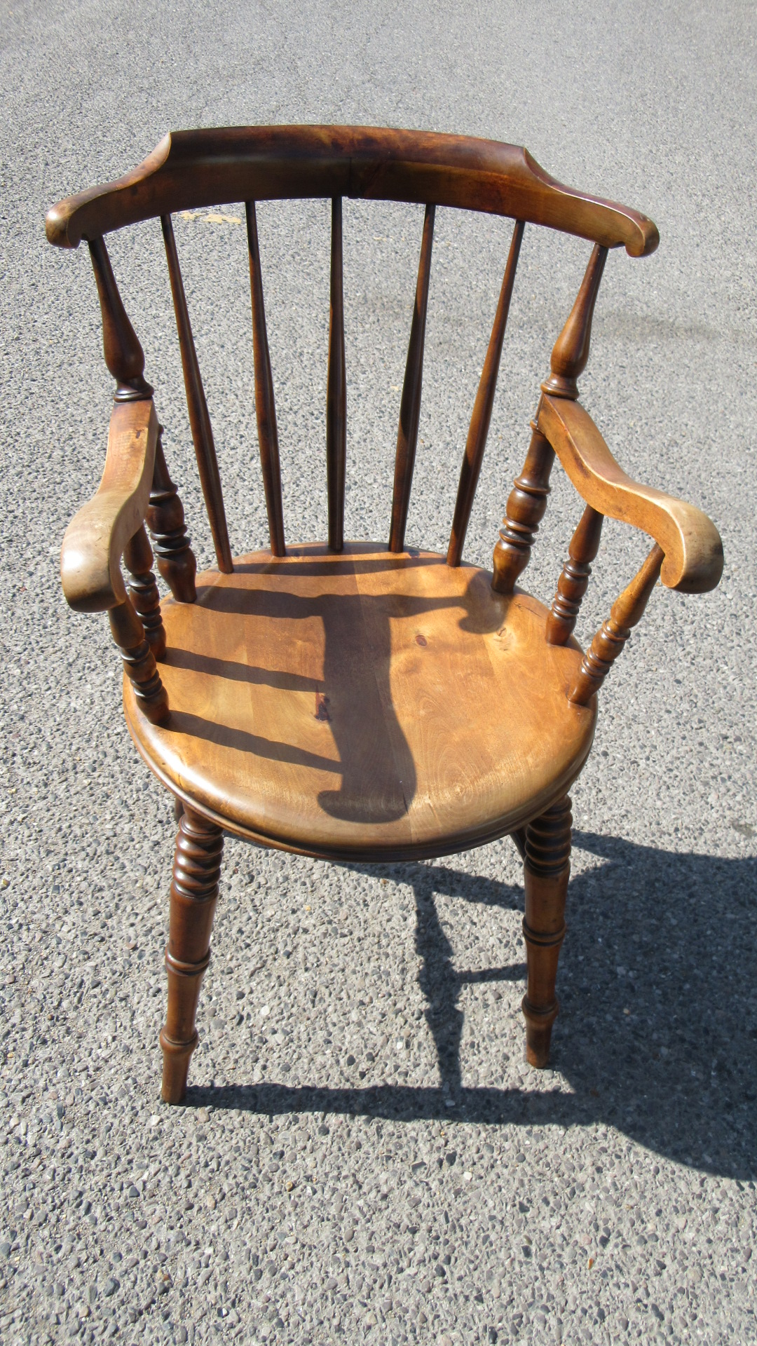 ANTIQUE VICTORIAN BEECH COUNTRY WINDSOR PENNY SEAT ARMCHAIR