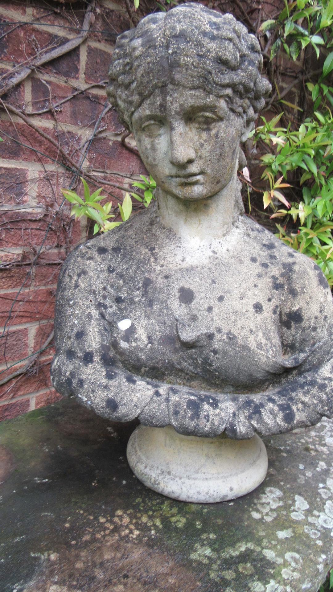 VINTAGE WEATHERED CONCRETE FEMALE GARDEN BUST