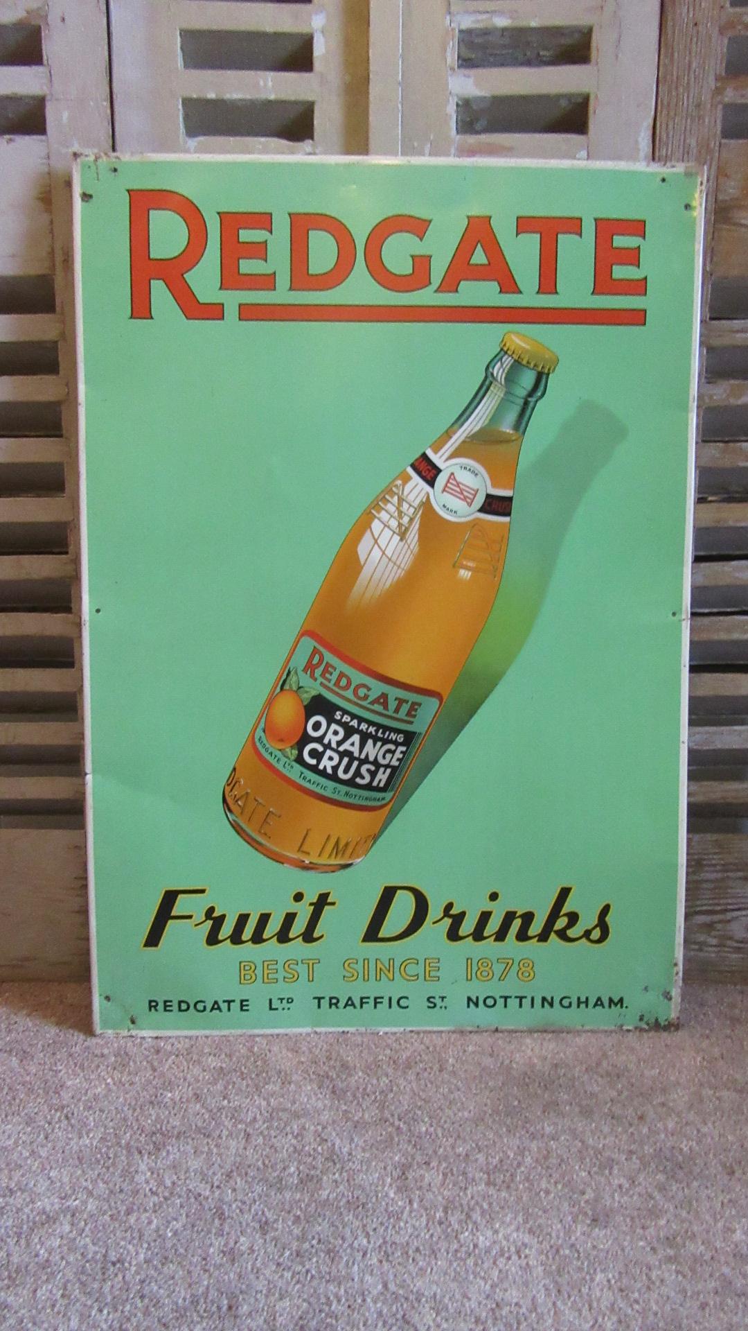 VINTAGE REDGATE DRINKS TIN ADVERTISING SIGN