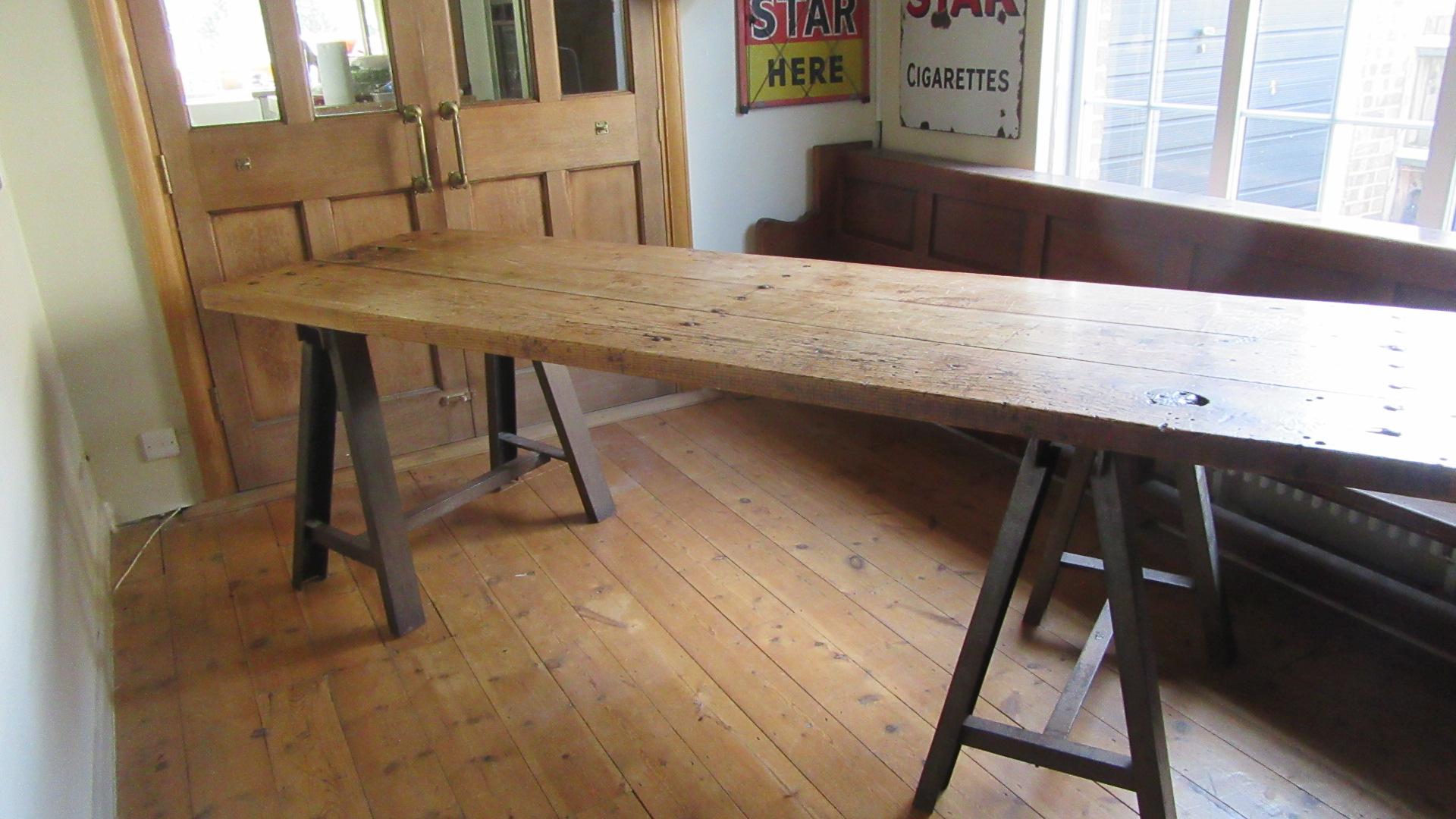 LARGE VINTAGE INDUSTRIAL STUDDED OAK DINING TABLE