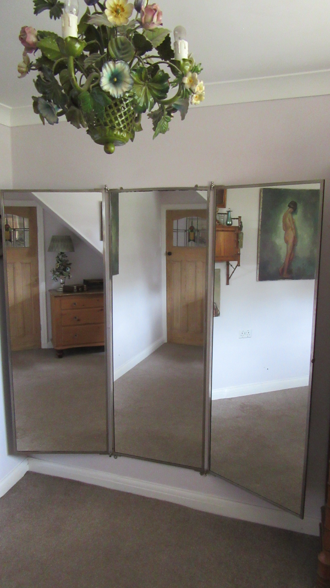 ANTIQUE BROT TRIPTYICH SILVER PLATED WALL MIRROR