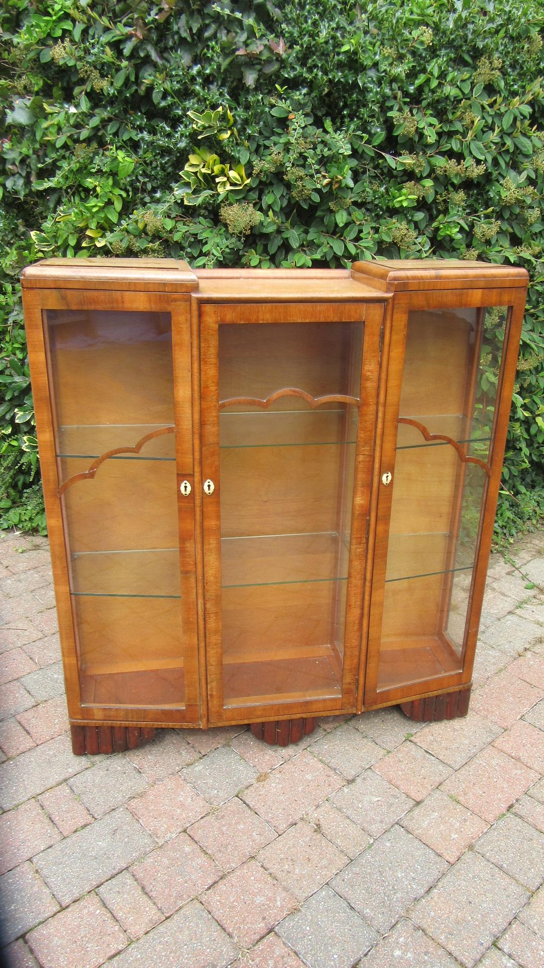 antique art deco walnut display cabinet