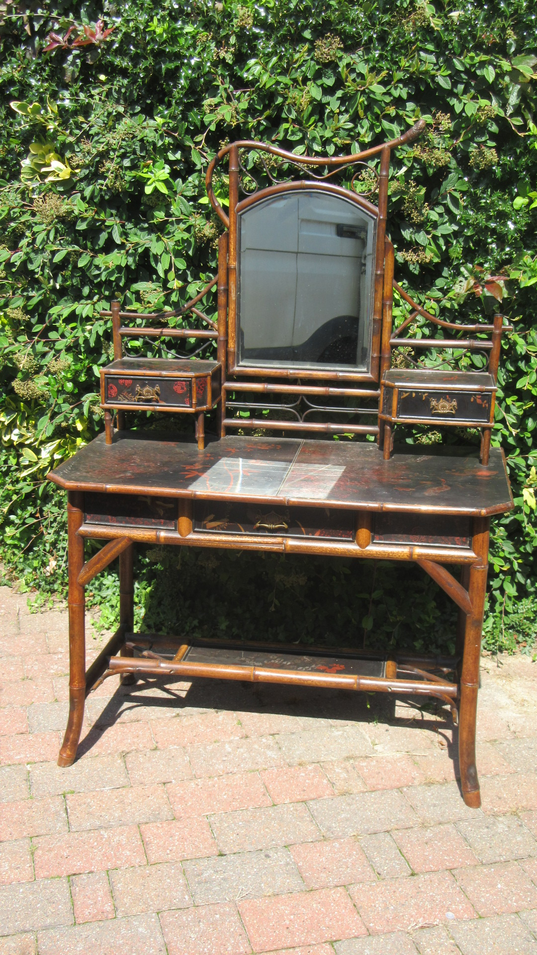 ANTIQUE VICTORIAN AESTHETIC MOVEMENT BAMBOO DRESSING TABLE