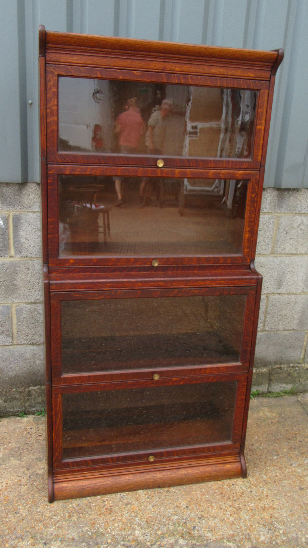 ANTIQUE OAK FOUR TIER SECTIONAL STACKING BOOKCASE