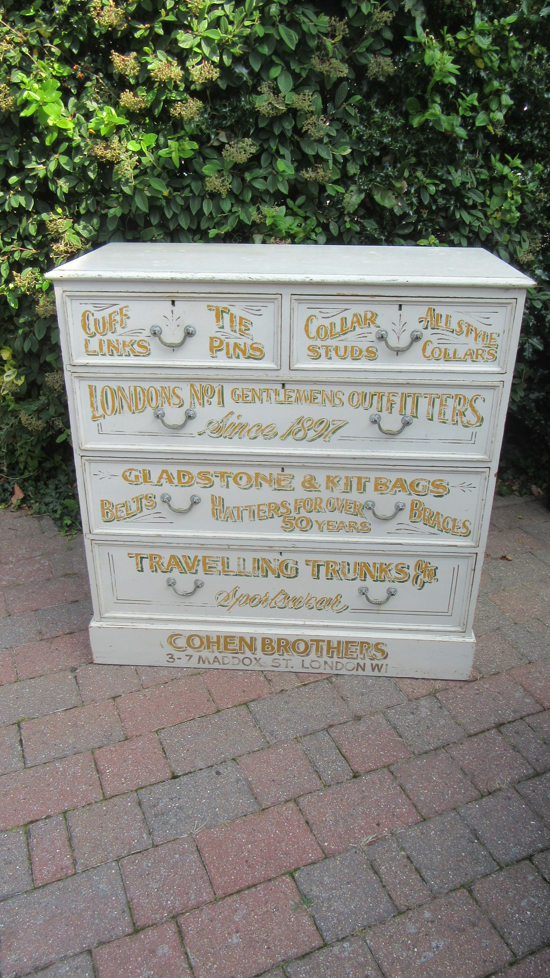 DECORATIVE ANTIQUE PAINTED PINE CHEST OF DRAWERS